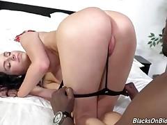 Tough Black Guy Attacks Sexy Brunette 1