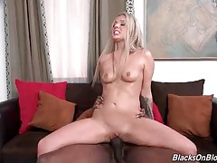Lovely Blonde Is Jumping On Black Cock 1