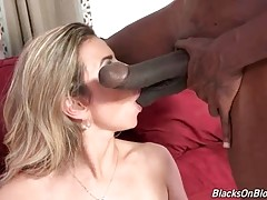 Amazing Blonde Slurps Two Black Cocks 2