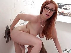 Two Slutty Girls Get Assfucked Through Glory Hole 2